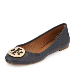 Tory Burch Navy Perforated Reva Flats